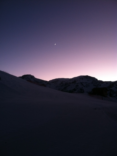 Purple mountain morning with the moon